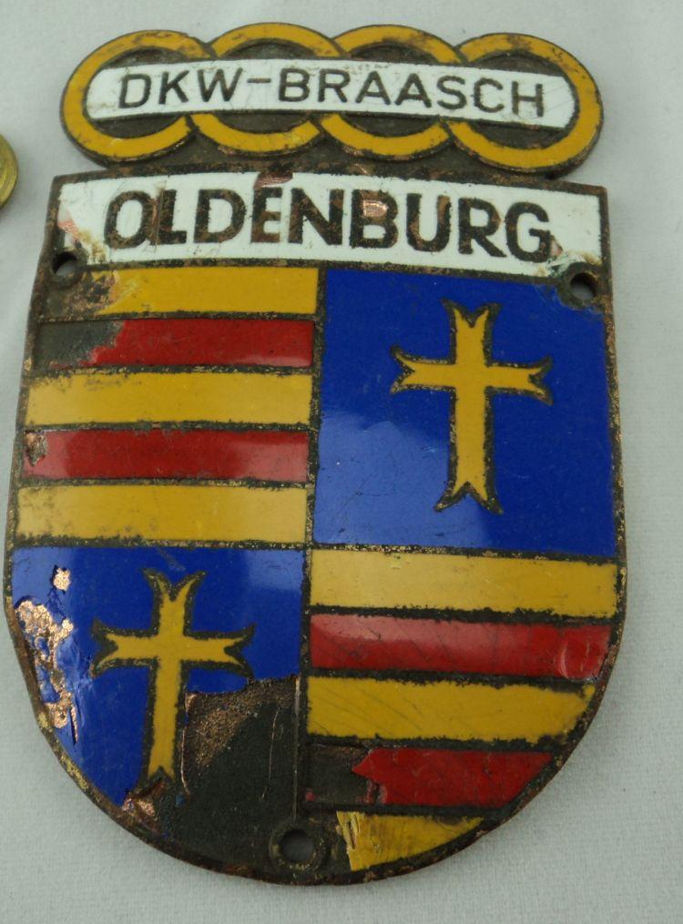 3 x altes auto emblem dkw und st dte wappen braasch oldenburg ebay. Black Bedroom Furniture Sets. Home Design Ideas