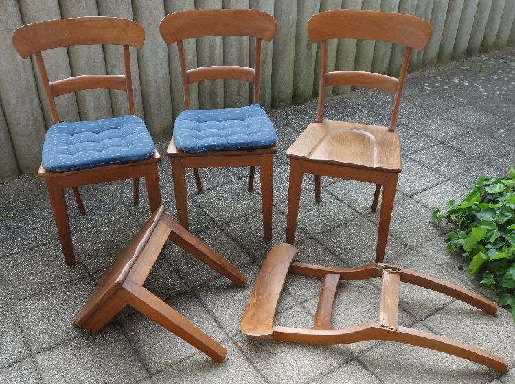 4 Stühle teilweise für Bastler SIT Koloniale Landhausmöbel Teakholz ...