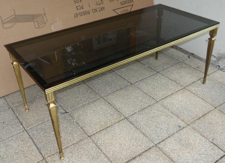 sch ner woihnzimmertisch couchtisch messing mit glas im jugendstil ebay. Black Bedroom Furniture Sets. Home Design Ideas