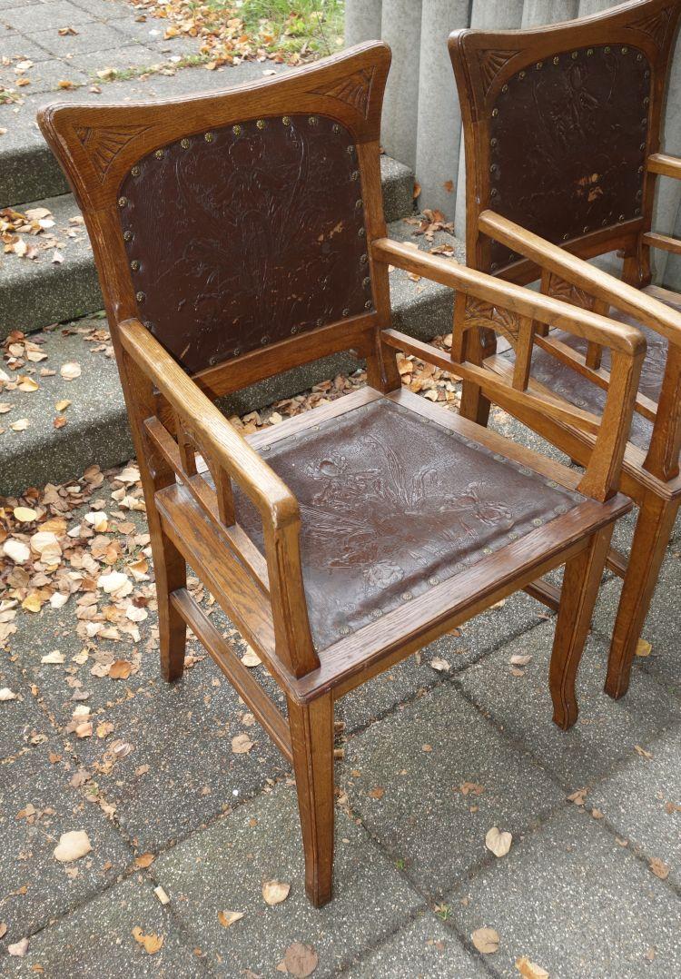 6 antike st hle jugendstil eiche 2 x armlehnenstuhl ebay. Black Bedroom Furniture Sets. Home Design Ideas