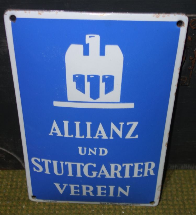 altes emailschild allianz und stuttgarter verein hellblau ebay. Black Bedroom Furniture Sets. Home Design Ideas