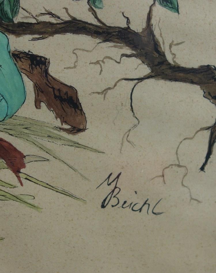 altes Blumenbild Aquarell im Rahmen | eBay